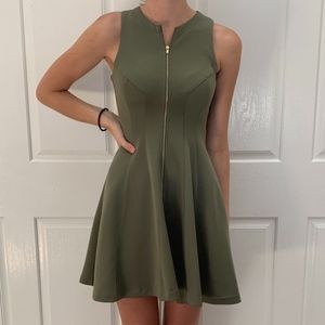 olive green zip up dress